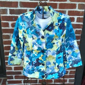 COLDWATER CREEK BLUE/ GREEN FLORAL PRINT JACKET